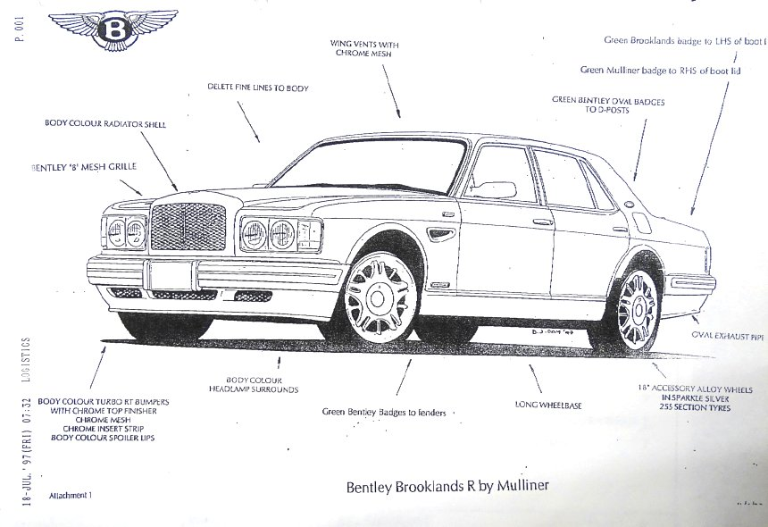 Bentley Brooklands R Mulliner Factory Sketch